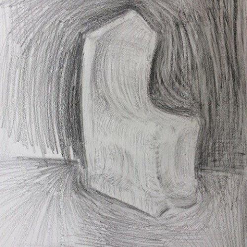 Christine Mills  Y Gorchudd Llwch (preparatory drawing)