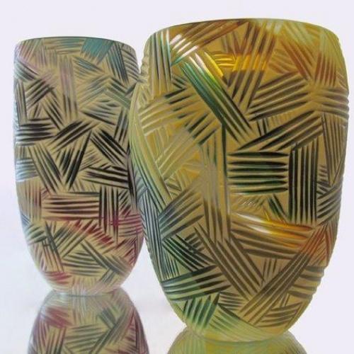 Kathryn Roberts  Crosshatch open vessels (blown glass)  www.thegategallery.co.uk